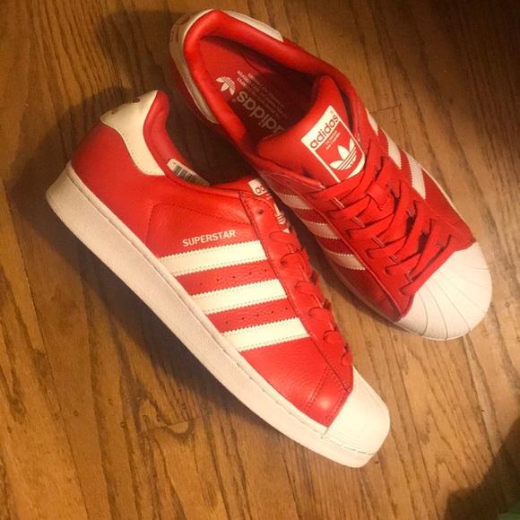 newest abcdc c1222 NWT Adidas Superstar Red w White Stripes